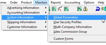 Global Parameter Menu